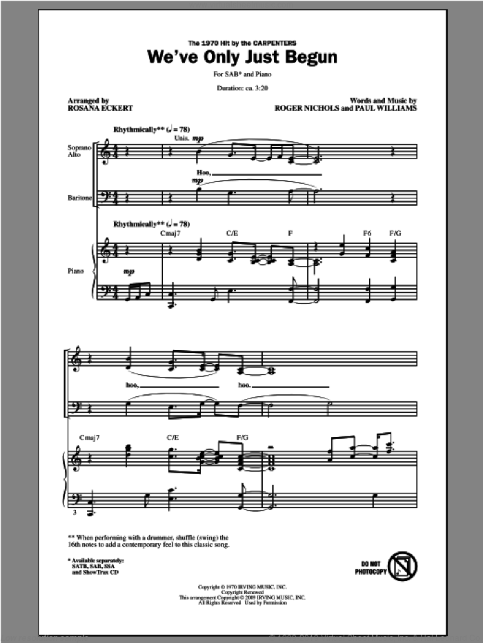 We've Only Just Begun sheet music for choir and piano (SAB) by Rosana Eckert