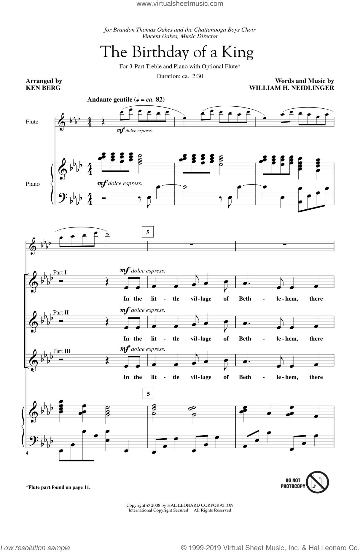 The Birthday Of A King sheet music for choir (chamber ensemble) by Ken Berg and William Harold Neidlinger. Score Image Preview.