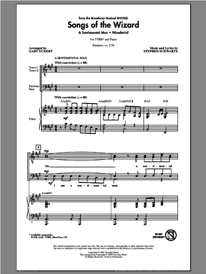 Songs of the Wizard (from Wicked) sheet music for choir and piano (TTBB) by Gary Eckert and Stephen Schwartz. Score Image Preview.