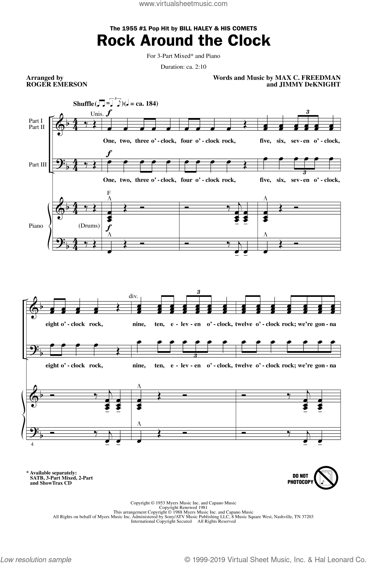 Rock Around The Clock sheet music for choir and piano (chamber ensemble) by Roger Emerson