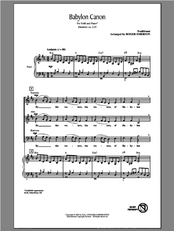 Babylon Canon sheet music for choir and piano (SAB) by Roger Emerson. Score Image Preview.