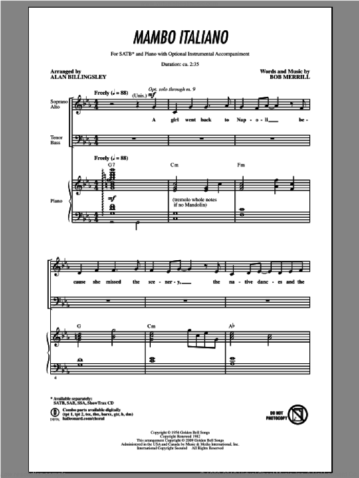 Mambo Italiano sheet music for choir (SATB) by Alan Billingsley, intermediate choir (SATB). Score Image Preview.