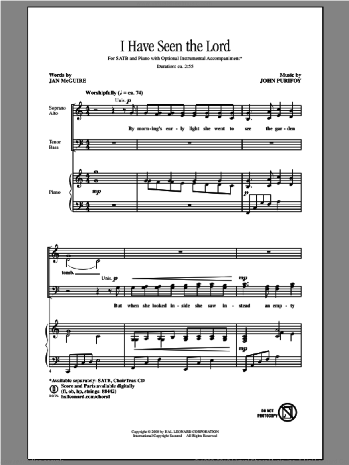 I Have Seen The Lord sheet music for choir (SATB) by John Purifoy and Jan McGuire. Score Image Preview.