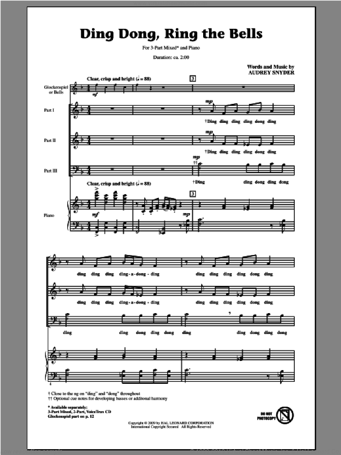 Ding Dong, Ring The Bells sheet music for choir (chamber ensemble) by Audrey Snyder, intermediate choir (chamber ensemble). Score Image Preview.