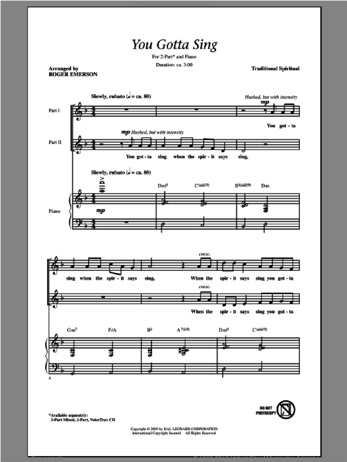 You Gotta Sing sheet music for choir (2-Part) by Roger Emerson, intermediate duet. Score Image Preview.