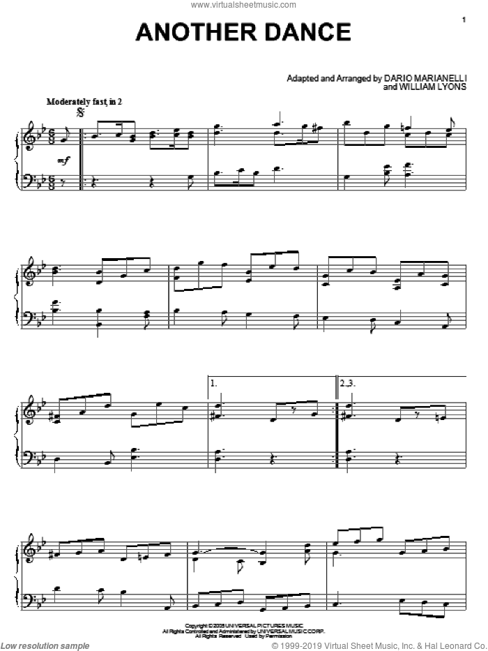 Another Dance sheet music for piano solo by William Lyons and Dario Marianelli. Score Image Preview.
