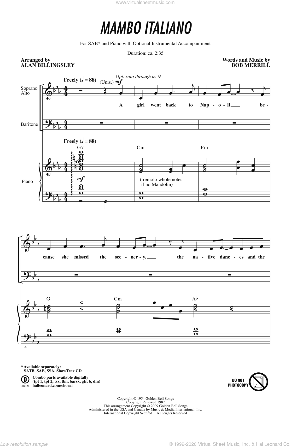 Mambo Italiano sheet music for choir (SAB) by Alan Billingsley. Score Image Preview.