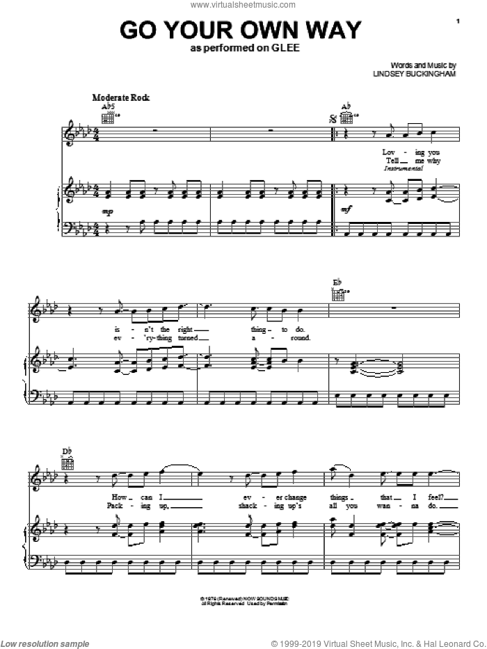 Go Your Own Way sheet music for voice, piano or guitar by Fleetwood Mac, intermediate. Score Image Preview.