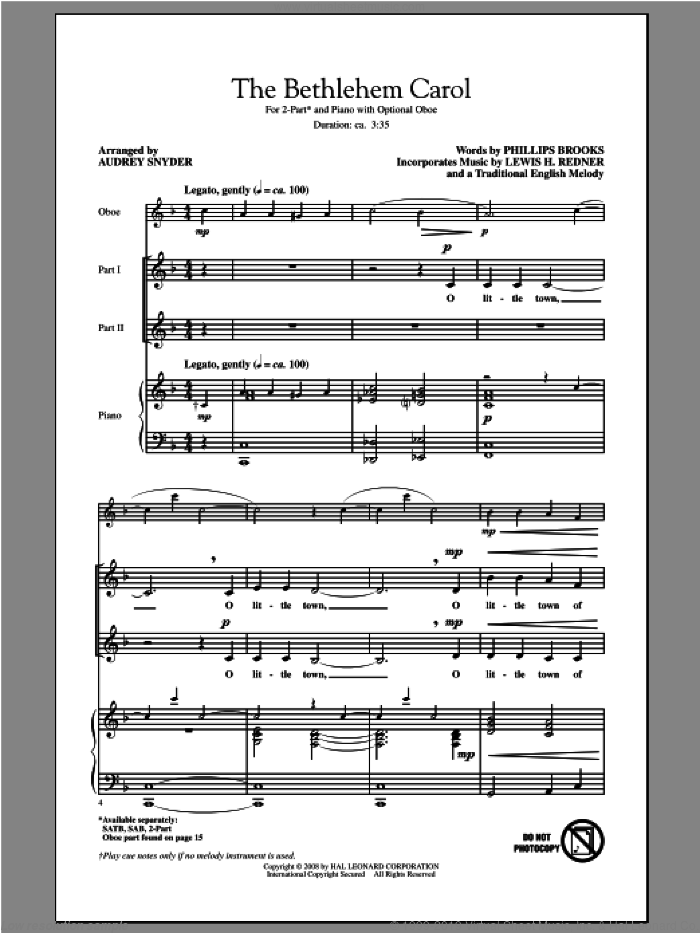The Bethlehem Carol sheet music for choir and piano (duets) by Audrey Snyder