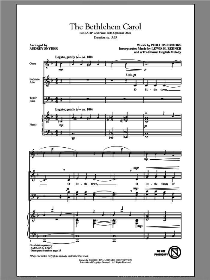 The Bethlehem Carol sheet music for choir (SATB) by Audrey Snyder, intermediate choir (SATB). Score Image Preview.