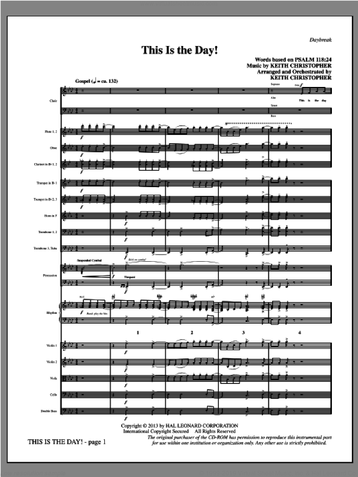 This Is the Day! sheet music for orchestra/band (full score) by Keith Christopher