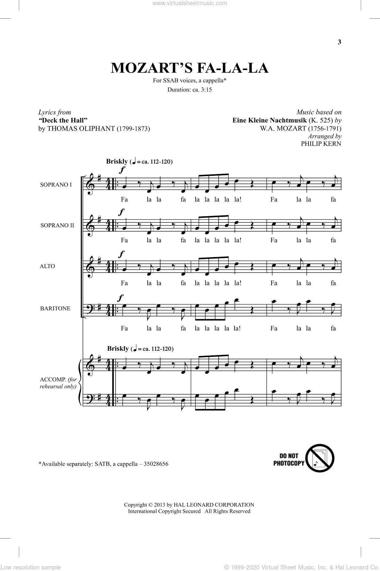 Mozart's Fa-La-La sheet music for choir (SAB) by Wolfgang Amadeus Mozart and Philip Kern. Score Image Preview.