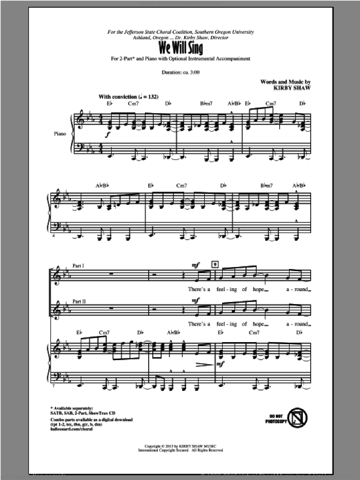 We Will Sing sheet music for choir (2-Part) by Kirby Shaw, intermediate duet. Score Image Preview.
