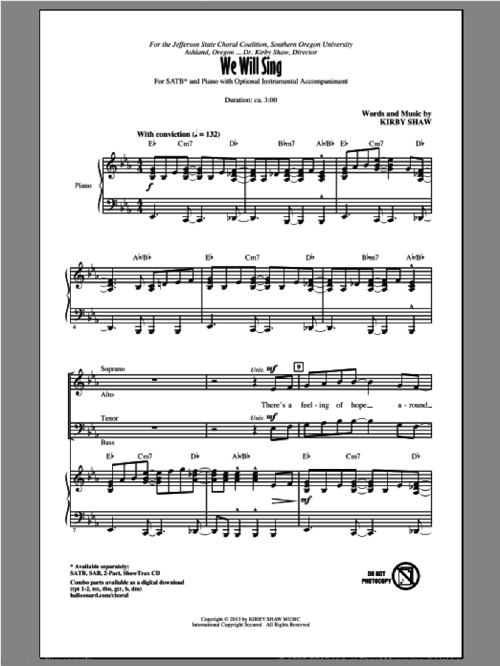 We Will Sing sheet music for choir (SATB) by Kirby Shaw. Score Image Preview.