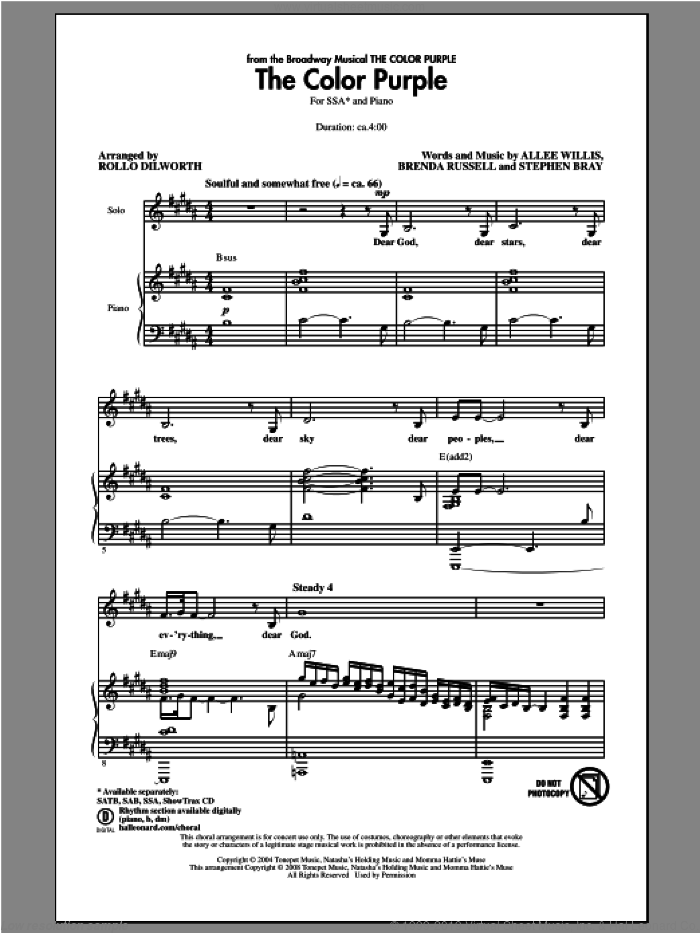 The Color Purple sheet music for choir (soprano voice, alto voice, choir) by Rollo Dilworth. Score Image Preview.