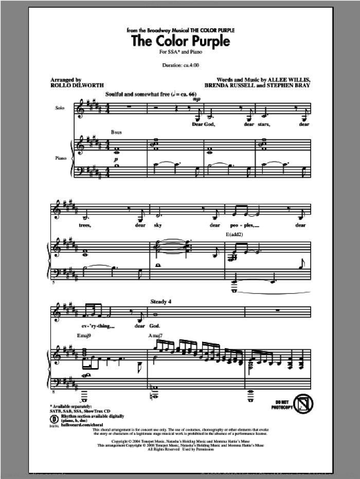 The Color Purple sheet music for choir (SSA: soprano, alto) by Rollo Dilworth, intermediate skill level