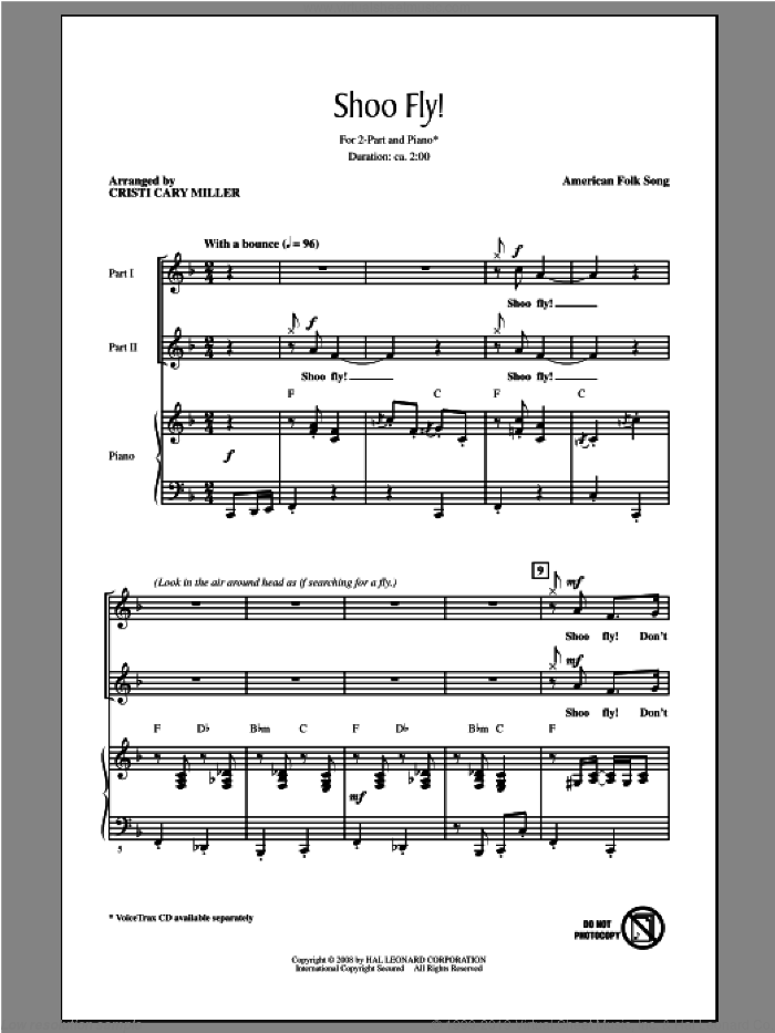 Shoo Fly, Don't Bother Me sheet music for choir and piano (duets) by Cristi Cary Miller. Score Image Preview.