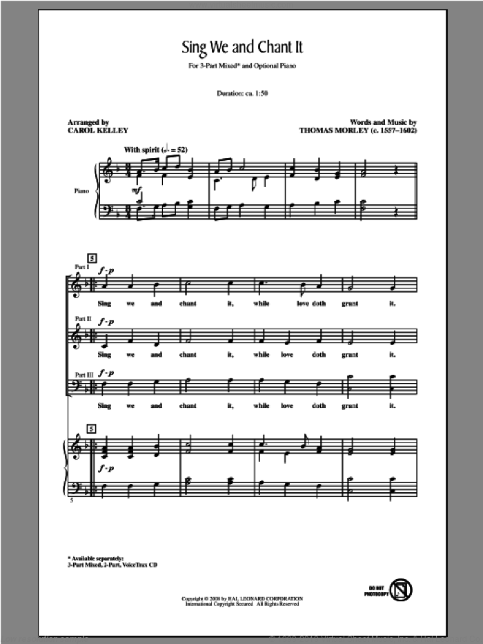 Sing We And Chant It sheet music for choir and piano (chamber ensemble) by Carol Kelley