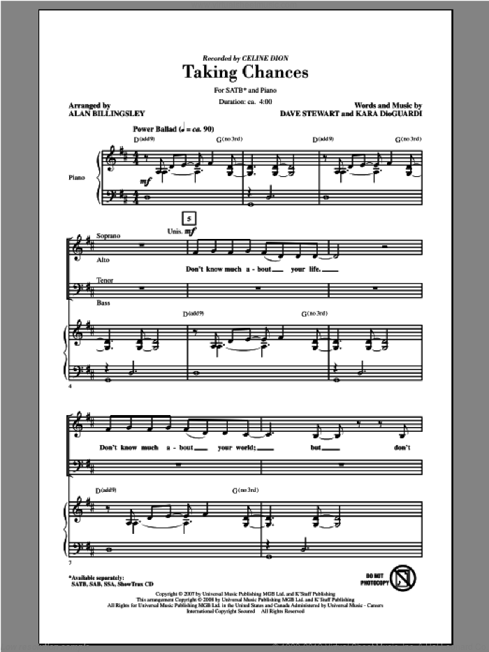 Taking Chances sheet music for choir (SATB: soprano, alto, tenor, bass) by Alan Billingsley and Celine Dion, intermediate skill level