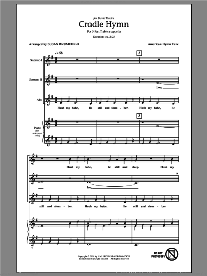Cradle Hymn (arr. Susan Brumfield) sheet music for choir (3-Part Treble) by American Hymn Tune and Susan Brumfield, intermediate skill level