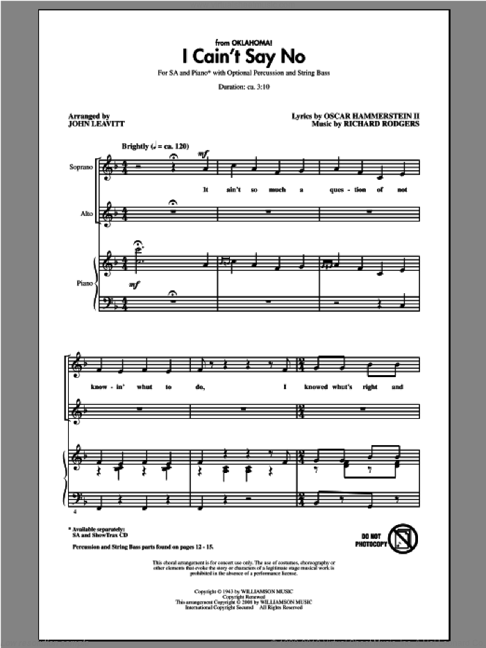I Cain't Say No sheet music for choir (2-Part) by Rodgers & Hammerstein and John Leavitt, intermediate duet. Score Image Preview.
