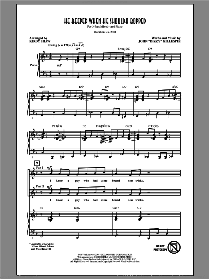 He Beeped When He Shoulda Bopped sheet music for choir (3-Part Mixed) by Kirby Shaw, intermediate skill level