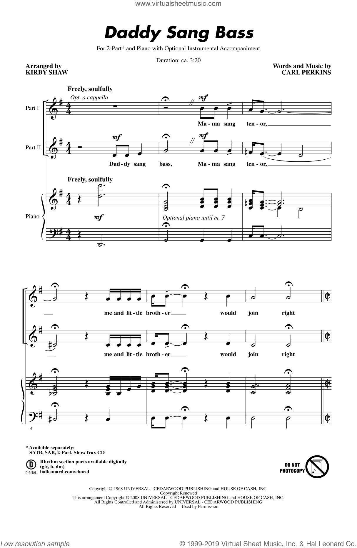 Daddy Sang Bass sheet music for choir (duets) by Kirby Shaw. Score Image Preview.