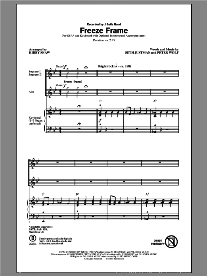 Freeze Frame sheet music for choir (SSA: soprano, alto) by Kirby Shaw and J. Geils Band, intermediate. Score Image Preview.