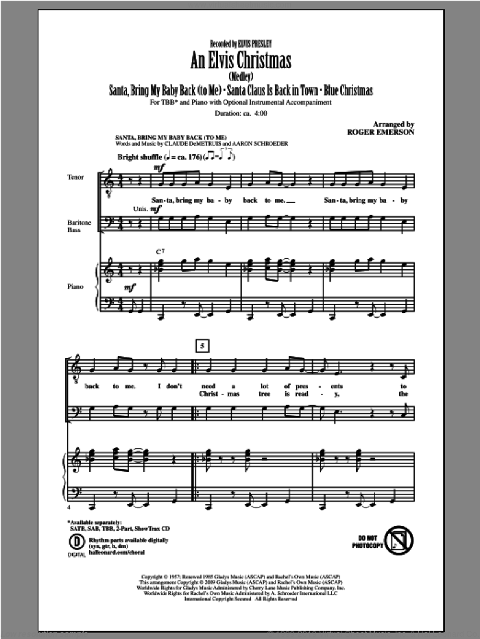 An Elvis Christmas sheet music for choir and piano (TBB) by Roger Emerson