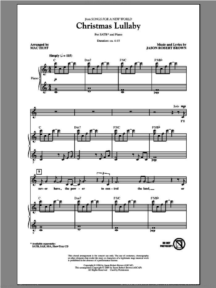 Christmas Lullaby sheet music for choir and piano (SATB) by Mac Huff. Score Image Preview.
