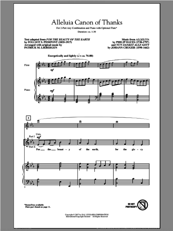 Alleluia Canon Of Thanks sheet music for choir (duets) by Patrick Liebergen. Score Image Preview.