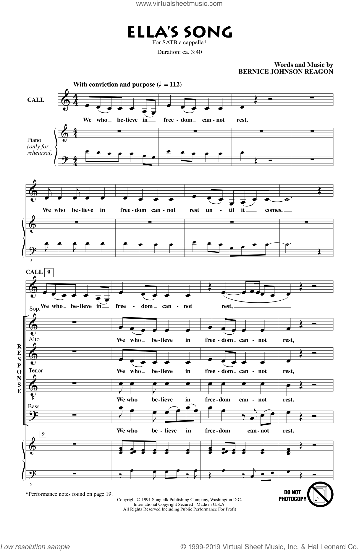Ella's Song sheet music for choir and piano (SATB) by Bernice Johnson Reagon. Score Image Preview.