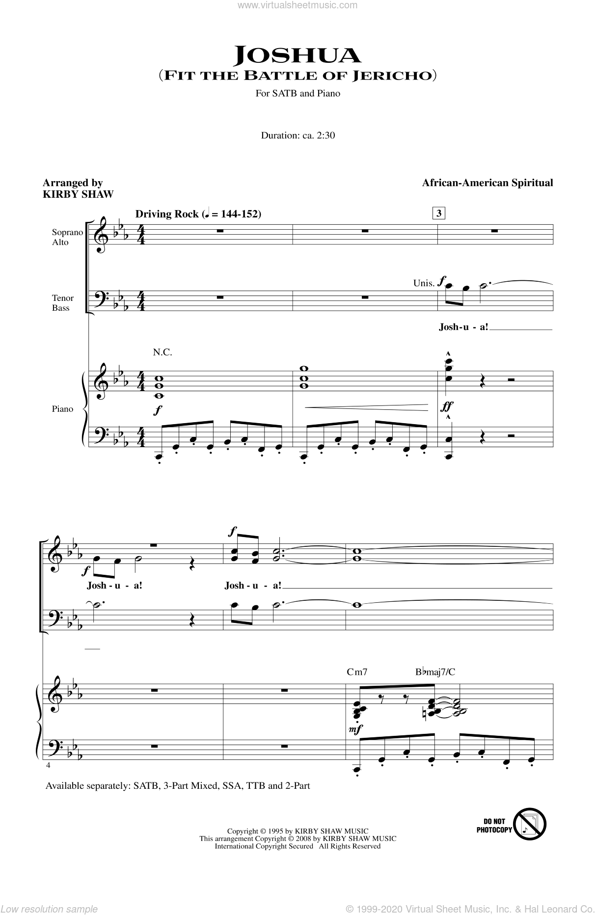 Joshua (Fit The Battle Of Jericho) sheet music for choir (SATB) by Kirby Shaw. Score Image Preview.