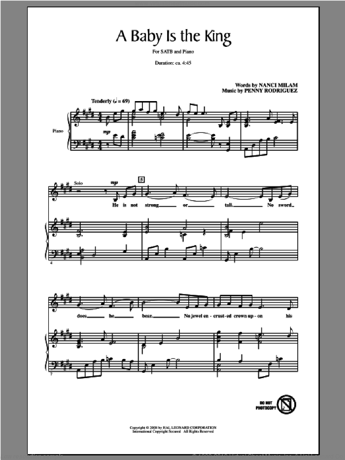 A Baby Is The King sheet music for choir and piano (SATB) by Penny Rodqiguez