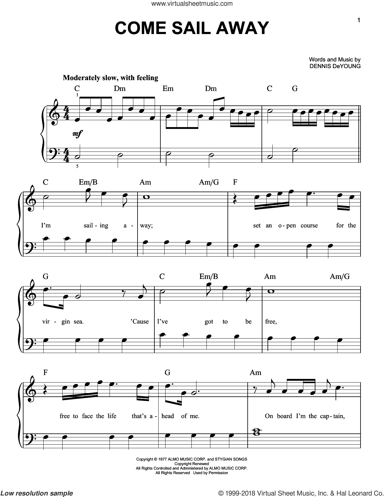 Come Sail Away, (beginner) sheet music for piano solo by Styx, beginner skill level