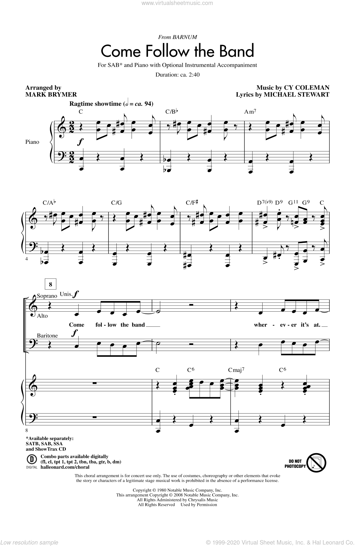 Come Follow The Band sheet music for choir (SAB) by Mark Brymer. Score Image Preview.