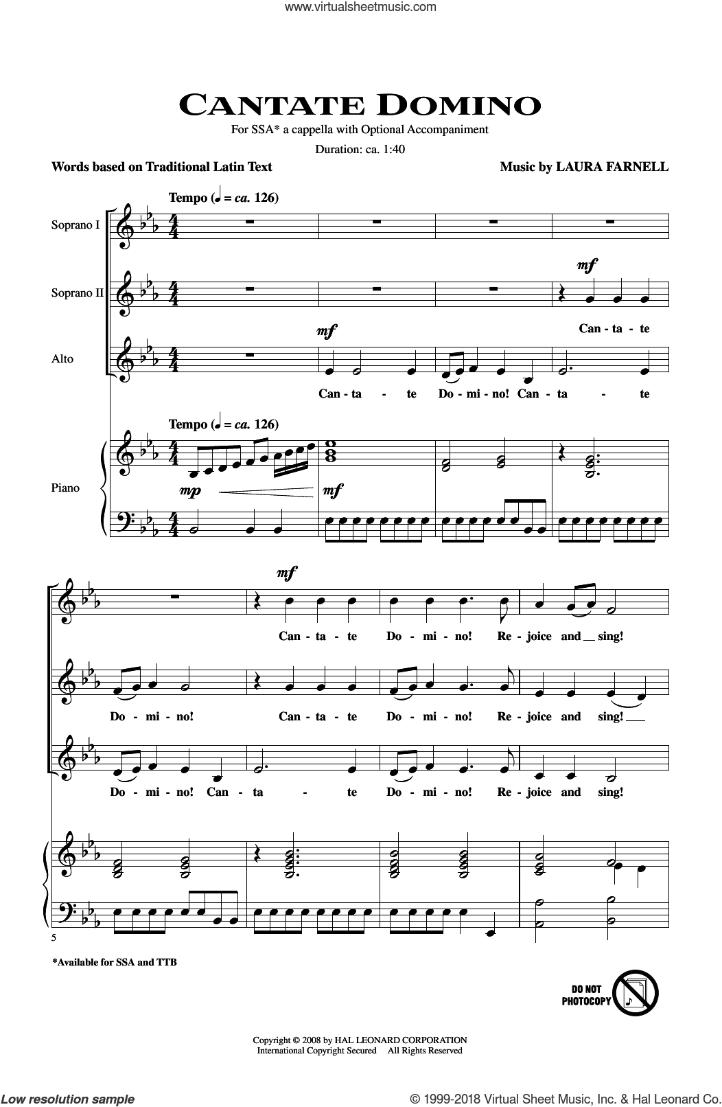 Cantate Domino sheet music for choir and piano (SSA) by Laura Farnell