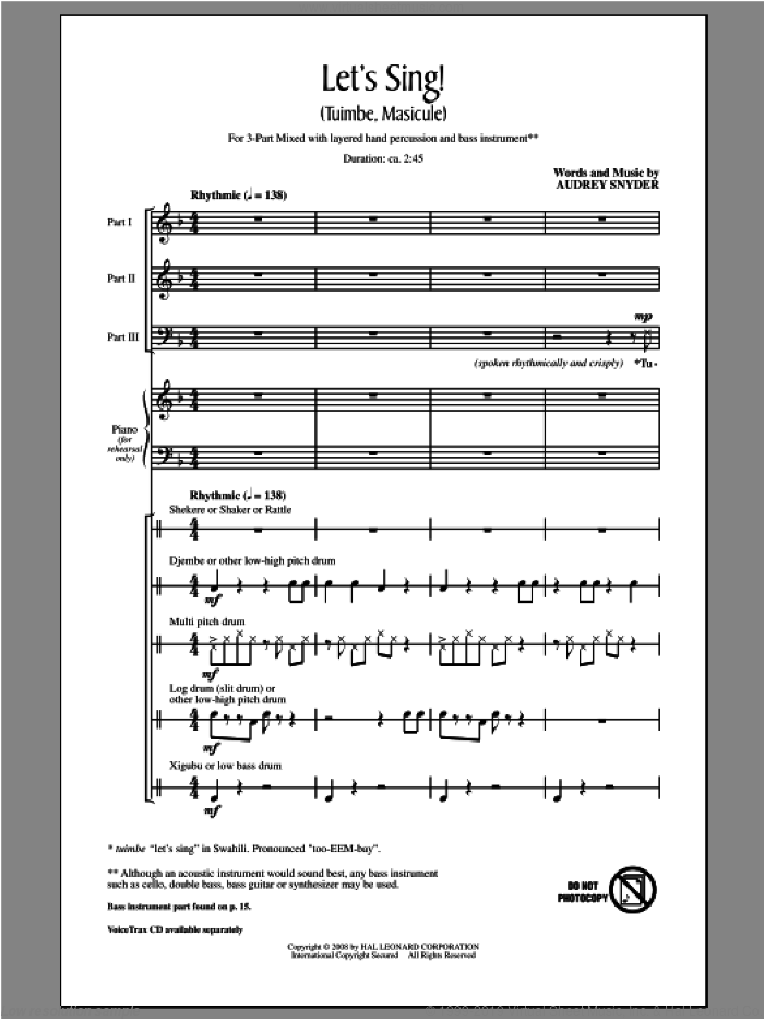 Let's Sing (Tuimbe, Masicule) sheet music for choir (3-Part Mixed) by Audrey Snyder, intermediate skill level