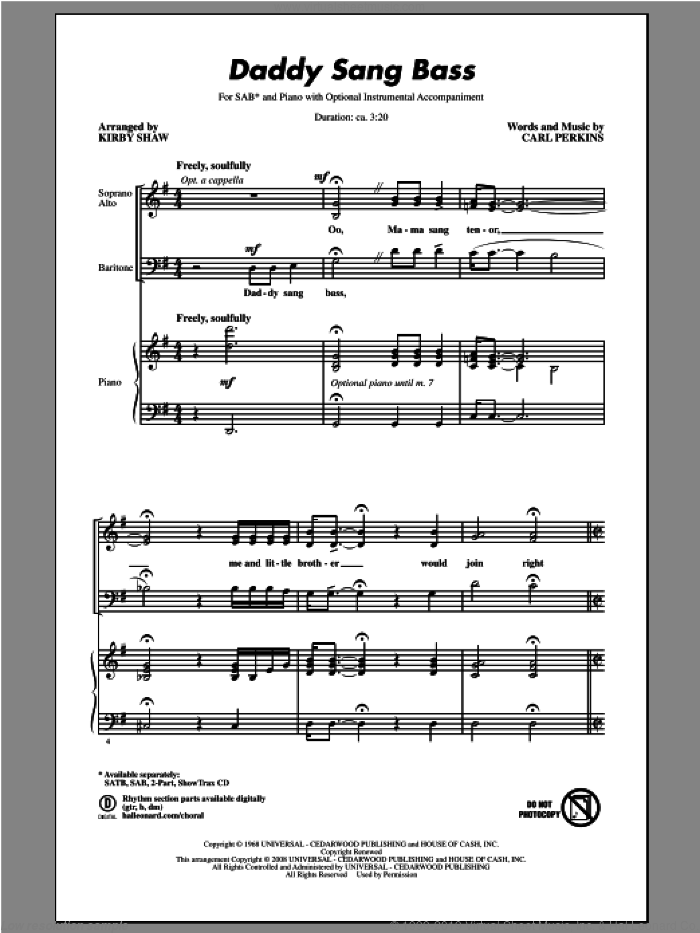 Daddy Sang Bass sheet music for choir and piano (SAB) by Kirby Shaw. Score Image Preview.