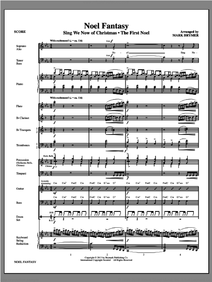 Noel Fantasy sheet music for orchestra/band (full score) by Mark Brymer. Score Image Preview.