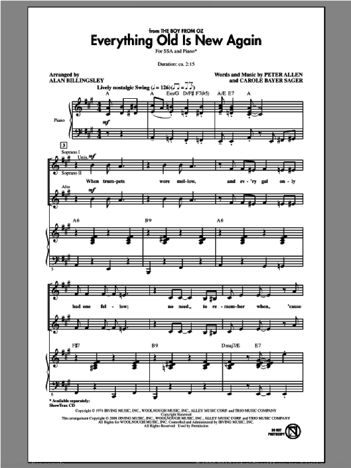 Everything Old Is New Again sheet music for choir (soprano voice, alto voice, choir) by Alan Billingsley. Score Image Preview.
