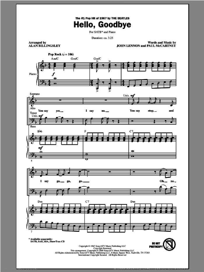 Hello, Goodbye sheet music for choir (SATB: soprano, alto, tenor, bass) by The Beatles and Alan Billingsley, intermediate. Score Image Preview.