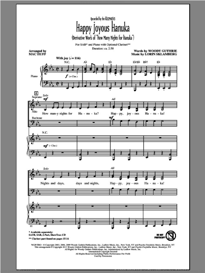 Happy Joyous Hanuka sheet music for choir (SAB) by Mac Huff. Score Image Preview.
