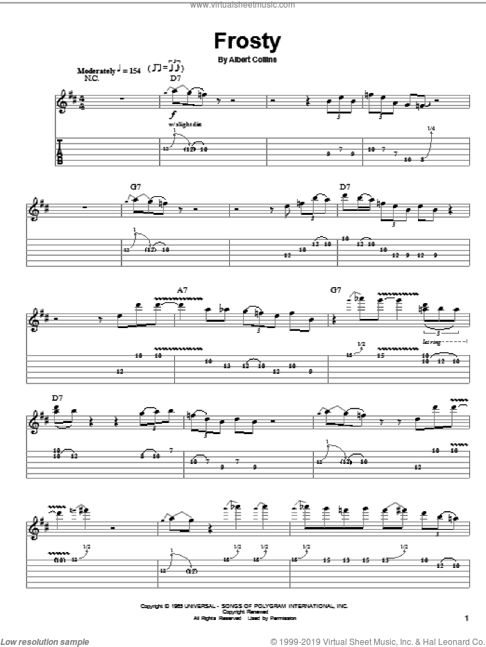 Frosty sheet music for guitar (tablature, play-along) by Albert Collins. Score Image Preview.
