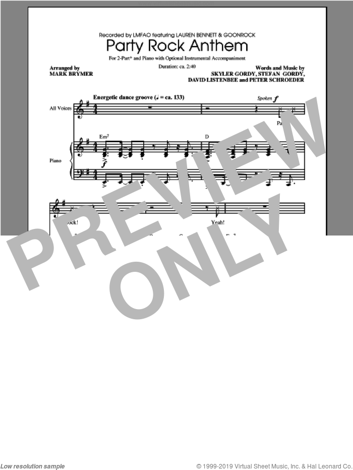Party Rock Anthem sheet music for choir (duets) by Mark Brymer, intermediate duet. Score Image Preview.