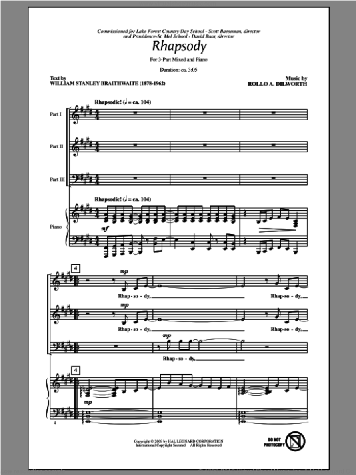 Rhapsody sheet music for choir and piano (chamber ensemble) by Rollo Dilworth. Score Image Preview.