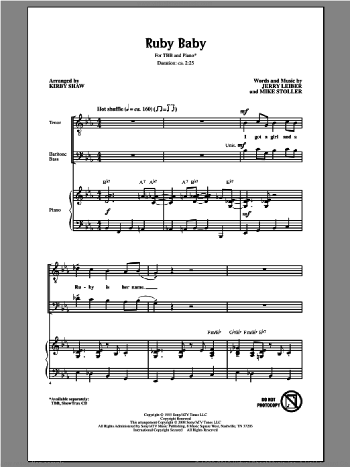 Ruby Baby sheet music for choir (tenor voice, bass voice, choir) by Kirby Shaw. Score Image Preview.
