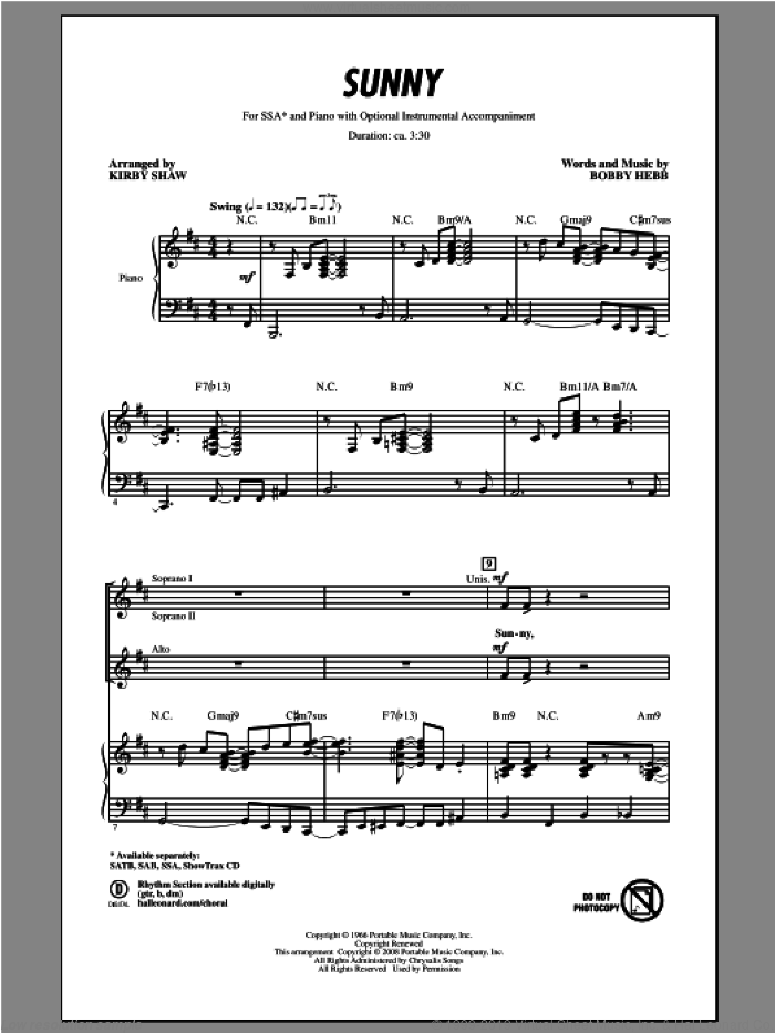 Sunny sheet music for choir (SSA: soprano, alto) by Kirby Shaw, intermediate. Score Image Preview.