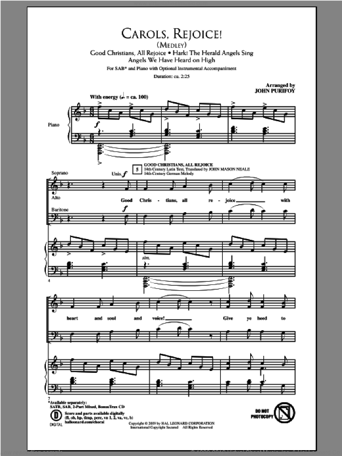 Carols, Rejoice (Medley) sheet music for choir (SAB) by John Purifoy. Score Image Preview.
