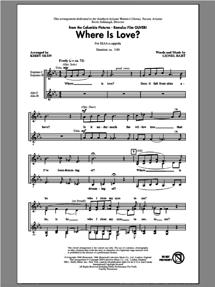 Where Is Love? sheet music for choir and piano (SSA) by Kirby Shaw and Lionel Bart. Score Image Preview.